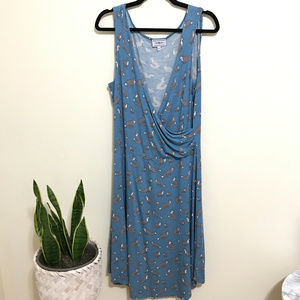 BLUE PLATYPUS fox print faux wrap dress AK5
